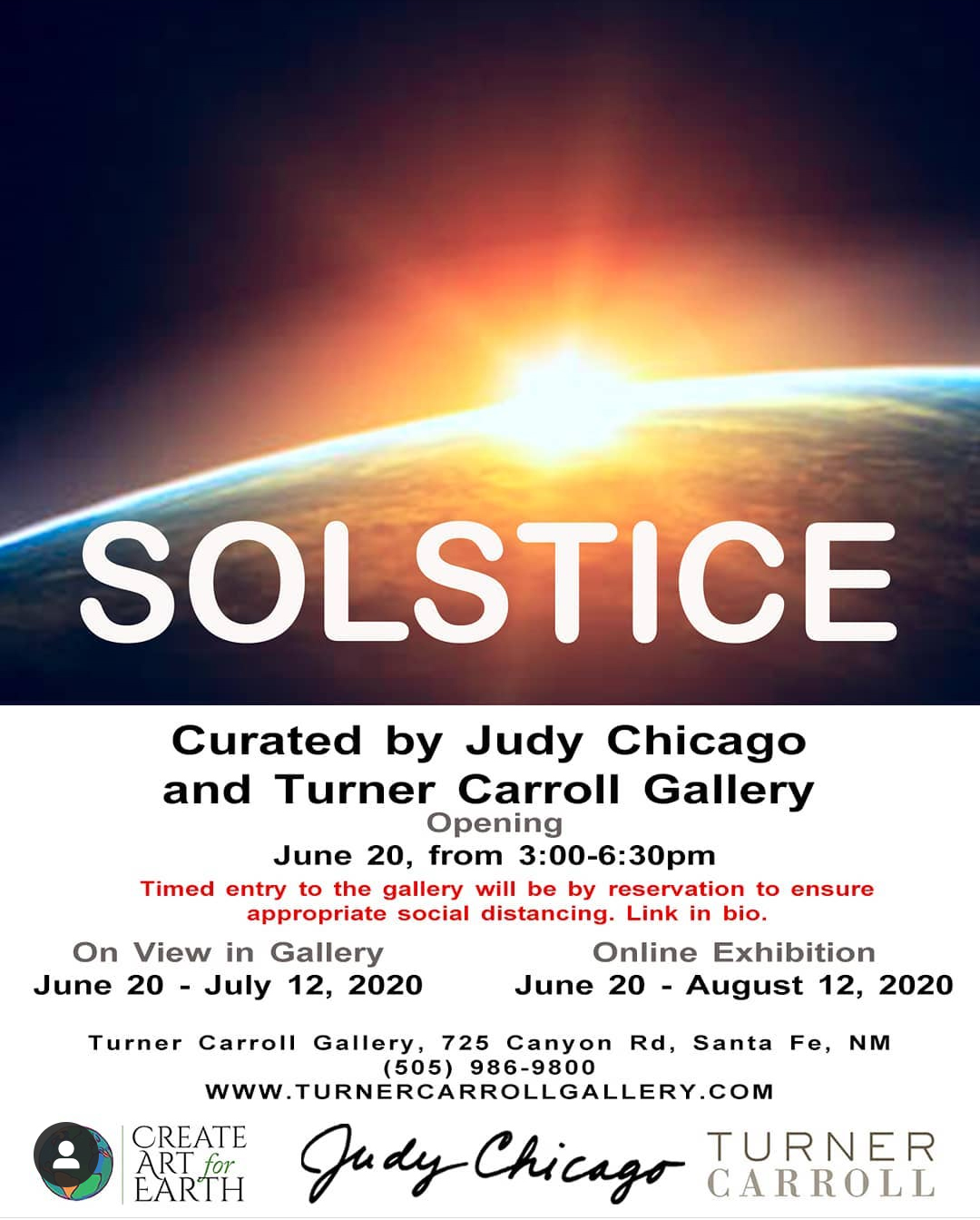 solstice create art for earth - Judy Chicago - Turner Carroll Gallery