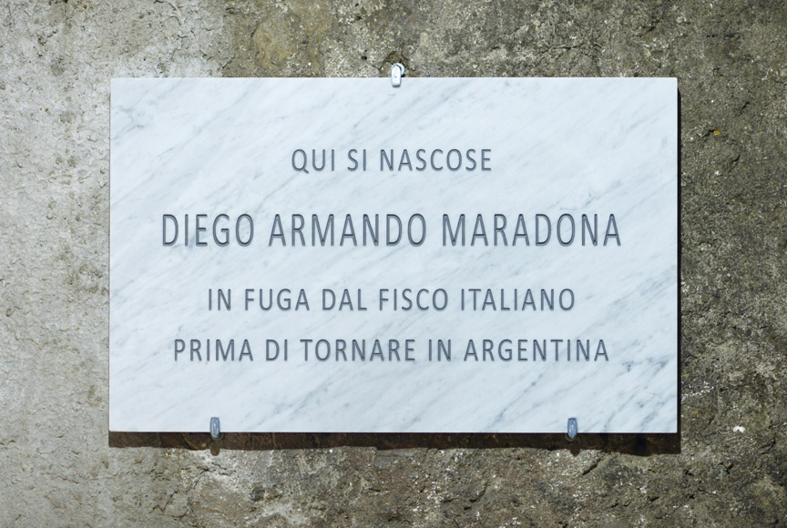FalseFriend [Diego], 2015, installation view at CantinaMontone, Montoro IT, Carrara marble plaque, 80 x 50 x 3 cm