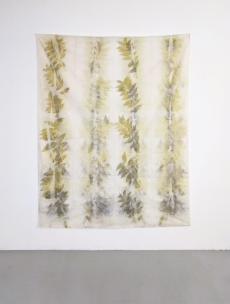Francesco Fossati, replica (Ailanthus altissima), 2018, ecoprint on organic cotton, 150 x 180 cm
