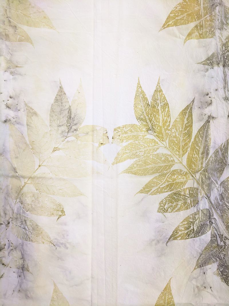 Francesco Fossati, replica (Ailanthus altissima), detail, 2018, ecoprint on organic cotton, 150 x 180 cm