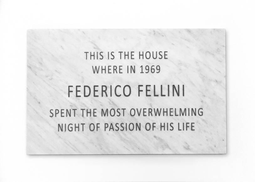 FalseFriend (Federico), 2015, Carrara Marble Plaque, 80 x 50 x 3 cm
