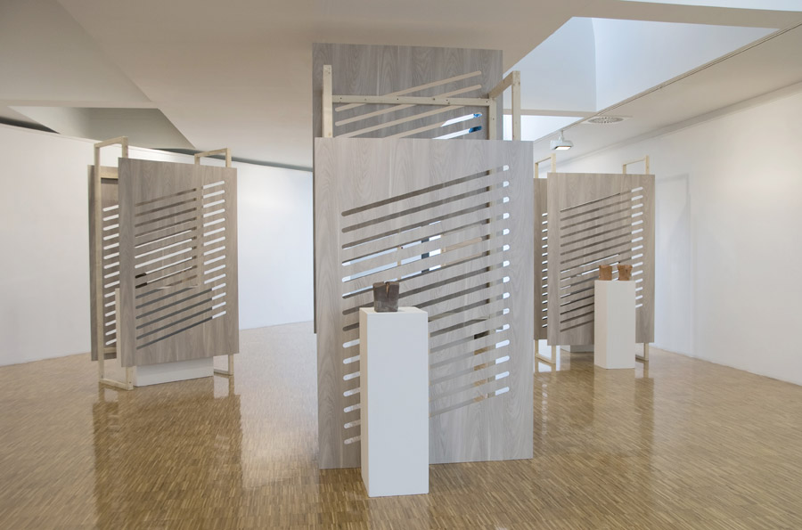 Opular, 2013, mdf, wood and terracotta, installation view at MAC of Lissone IT